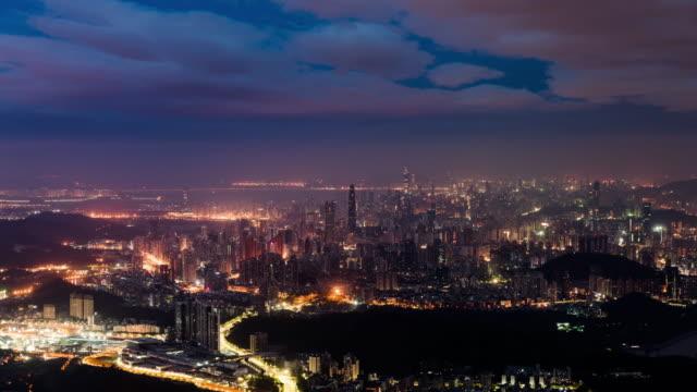 stockvideo's en b-roll-footage met china shenzhen stad landschap time-lapse fotografie - brede straat