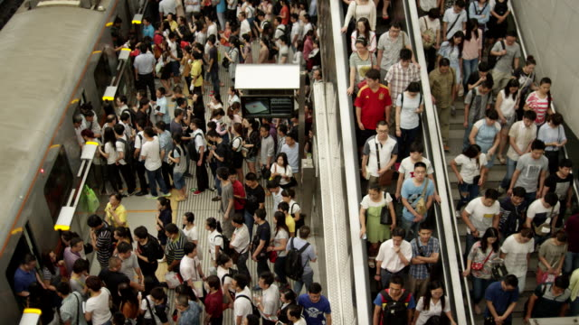 china subway : people waiting for the subway - underground rail stock videos & royalty-free footage