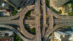 china sunny day time shanghai city famous road junction traffic aerial panorama 4k time lapse