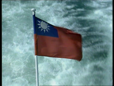 taiwan taiwanese flag flying on ship - taiwanese flag stock videos & royalty-free footage