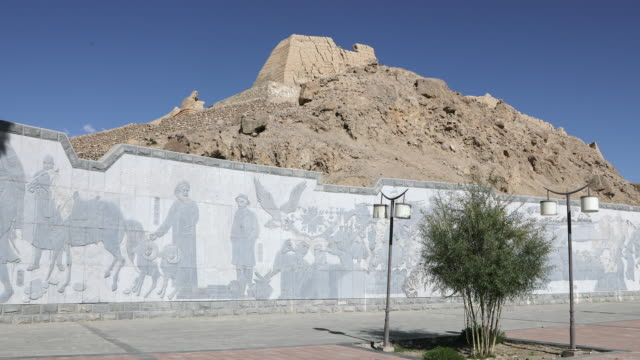 China, Tashkurgan, view of reliefs in the ancient Stone Castle, a caravan stop along the historic Silk Road
