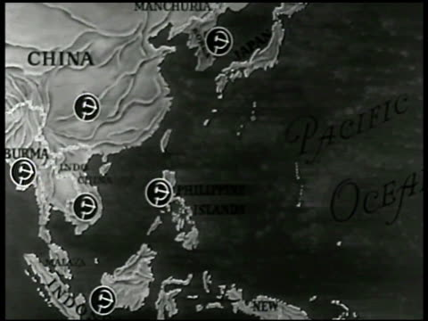 map china w/ russian soviet union point of power icon - comunismo video stock e b–roll