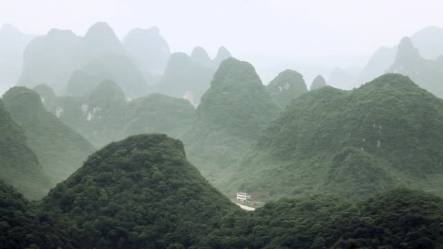 China, yangshuo, karst landscape, left to right pan