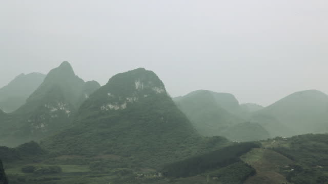 China, yangshuo, karst landscape, right to left pan
