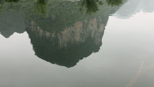 China, yangshuo, reflection of karst peak in yulong river