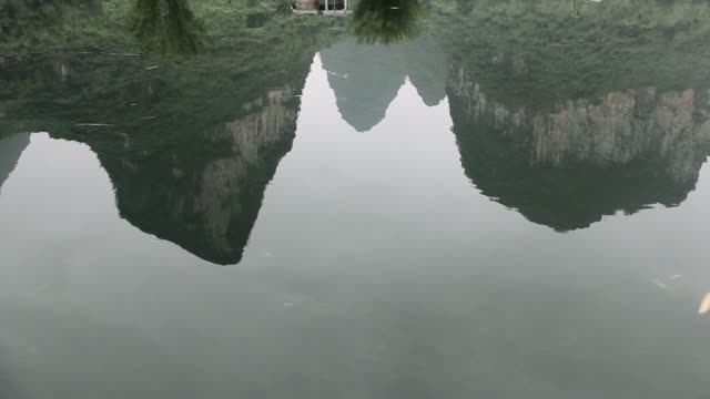 China, yangshuo, reflection of karst peaks in yulong river