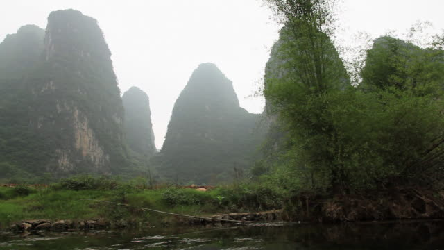 China, yangshuo, view of karst peaks from boat on yulong river