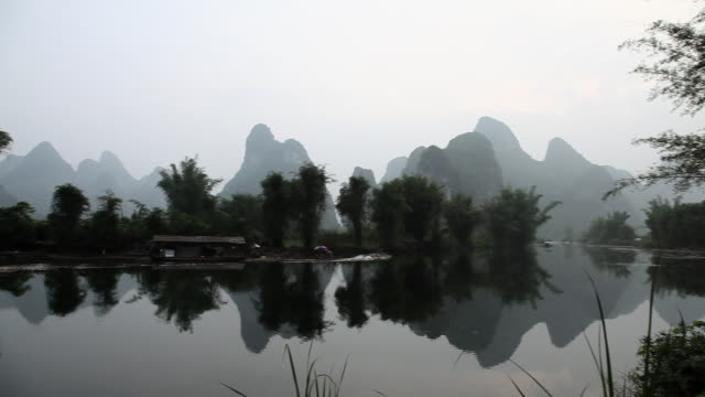 China, yangshuo, yulong river and karst landscape, right to left pan