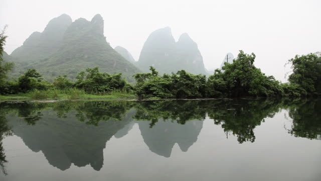China, yangshuo, yulong river and landscape viewed from boat