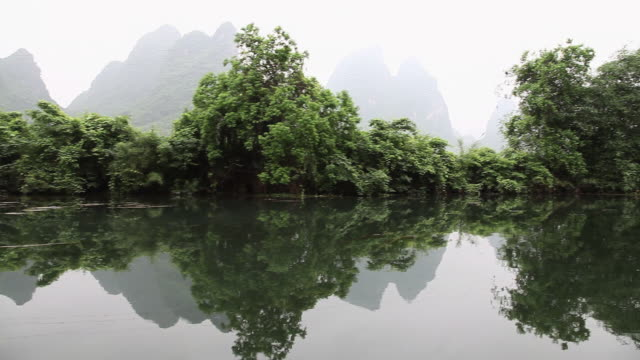 China, yangshuo, yulong river and landscape viewed from raft