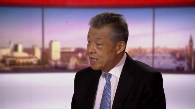 china's ambassador to the uk liu xiaoming saying there will be a resolute response if the uk imposes sanctions on china - global politics stock videos & royalty-free footage