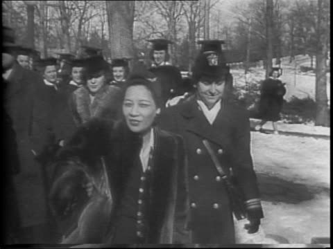 china's first lady madame chiang kaishek returns to wellesley college after 26 years / she is escorted through campus by commander mildred h mcafee... - wellesley massachusetts stock videos and b-roll footage