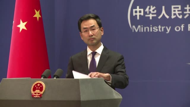 china's foreign ministry spokesman speaking at the daily briefing hits back at the united states for sending naval vessels close to disputed islands... - south china sea stock videos & royalty-free footage