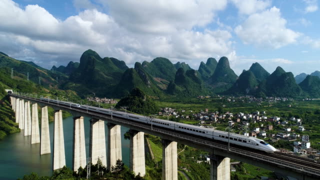 china's high-speed rail guilin landscape - high speed train stock videos & royalty-free footage