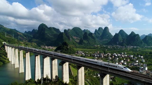vídeos de stock, filmes e b-roll de paisagem de guilin do trilho de alta velocidade de china - china