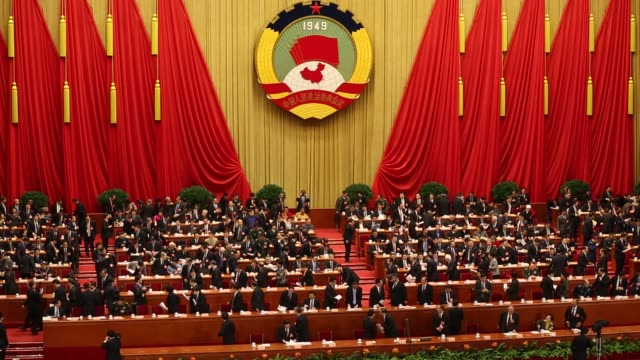 china's leaders attend the opening session of the chinese people's political consultative conference at great hall of the people on march 3, 2013 in... - politics stock videos & royalty-free footage