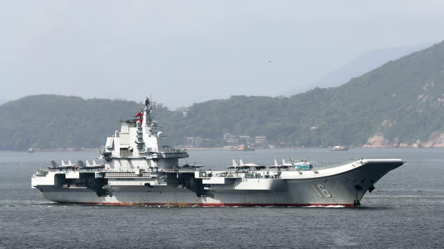 china's liaoning aircraft carrier arrives in hong kong on july 7, 2017. - aircraft carrier stock videos & royalty-free footage