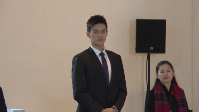 china's swimming star sun yang, accused of smashing a blood vial with a hammer arrives in the courtroom of the court of arbitration for sport in... - montreux stock videos & royalty-free footage
