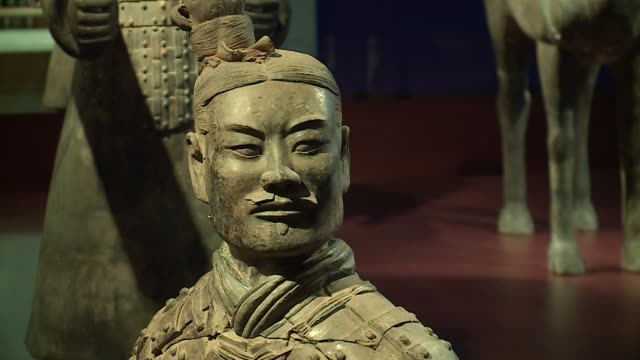 china's terracotta warriors on display at chicago's field museum on march 1, 2016. following lengthy negotiations with chinese officials, the field... - 皇帝点の映像素材/bロール