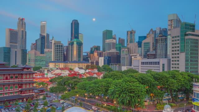 chinatown & cityscape nightfall time lapse, singapore - singapore stock videos & royalty-free footage