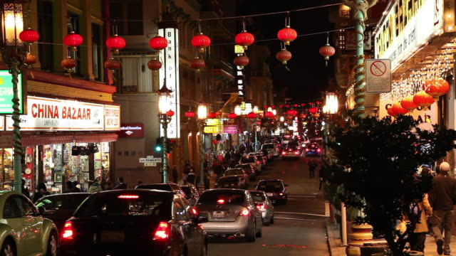 ws chinatown at night/ san francisco - chinatown stock videos & royalty-free footage