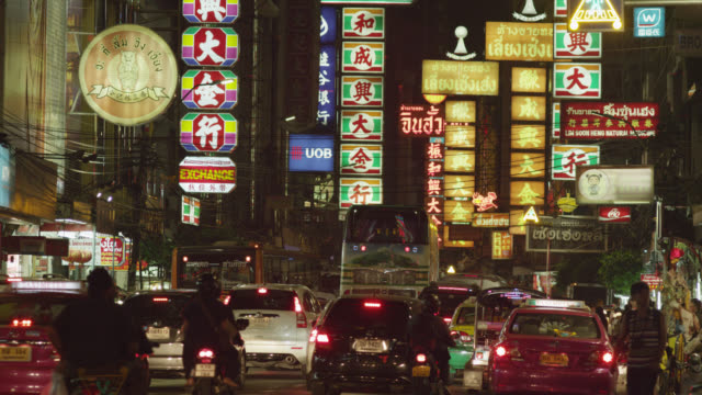ls chinatown by night, yaowarat road, red r3d 4k - chinatown stock videos and b-roll footage
