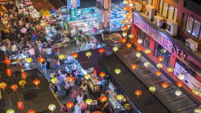 ws t/l chinatown night market / kuala lumpur, selangor, malaysia - kuala lumpur stock videos & royalty-free footage
