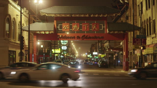 ws chinatown night - chinatown stock videos & royalty-free footage