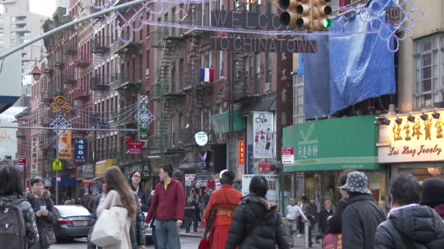 chinatown, nyc - mott street apartments & store fronts (christmas season) - chinatown stock videos & royalty-free footage