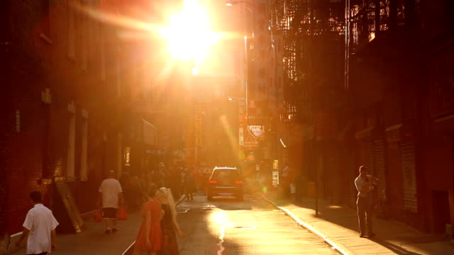 chinatown pell street sunset scene in new york city - tilt stock videos and b-roll footage