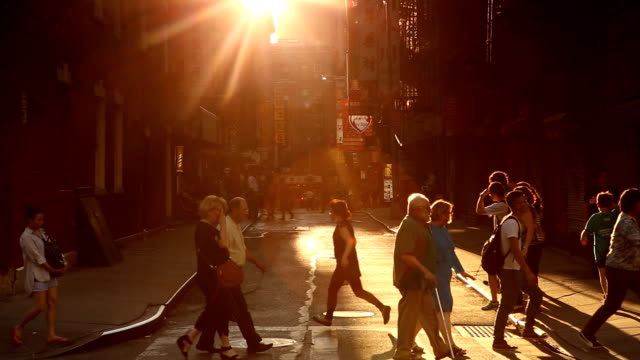 chinatown pell street sunset scene in new york city - slum stock videos & royalty-free footage