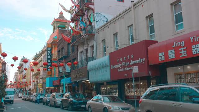 chinatown san francisco lanterns - california street san francisco stock videos & royalty-free footage
