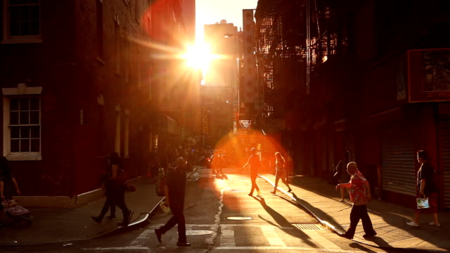 chinatown sunset scene in new york city - neighborhood street sign stock videos and b-roll footage