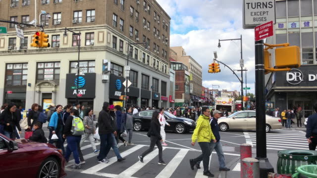 chinatown traffic and people shopping, walking, flushing, ny - road signal stock videos & royalty-free footage