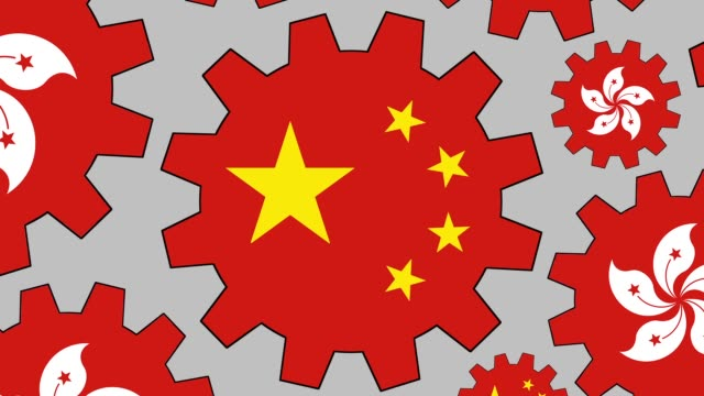 chinese and hong kong flag gears spinning background zooming out - hong kong flag stock videos & royalty-free footage