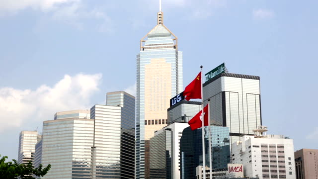 chinese and hong kong flags - hong kong flag stock videos & royalty-free footage