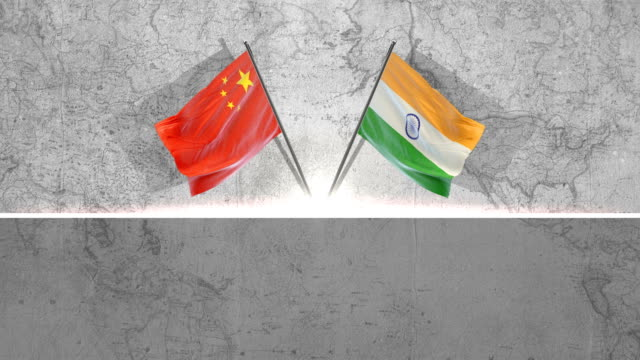 chinese  and indian flags - chinese flag stock videos & royalty-free footage