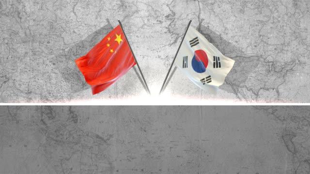 中国と韓国の旗 - 韓国点の映像素材/bロール
