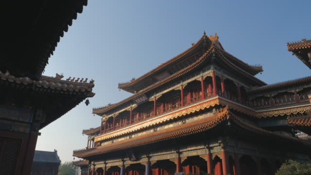 ws chinese architecture at yonghe temple, beijing, china - lamasery stock videos and b-roll footage