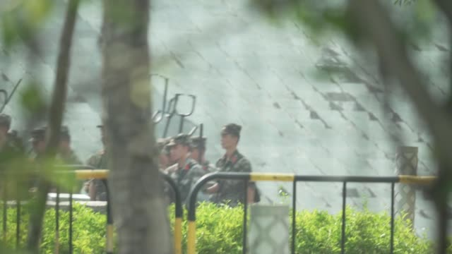Chinese armed police stationed in border city of Shenzhen CHINA Guangdong Shenzhen EXT Armed police along to carry out riot drill Police officer...