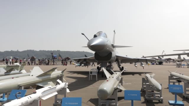 a chinese avic made ch5 medium altitude uav sits on display at the china international aviation aerospace exhibition in zhuhai china on monday oct 31... - 無人航空機点の映像素材/bロール