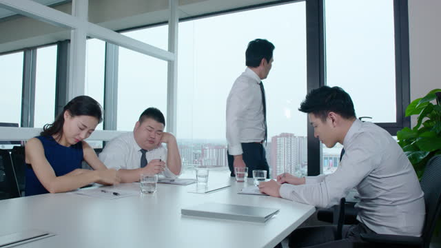 chinese business people having a meeting in office,4k - office politics stock videos & royalty-free footage