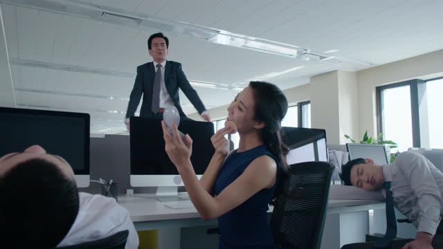 chinese business people slacking off in office,4k - office politics stock videos & royalty-free footage