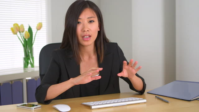 Chinese businesswoman explaining concepts to business partners