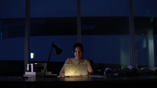 chinese businesswoman work late night stress out with project - working late stock videos & royalty-free footage