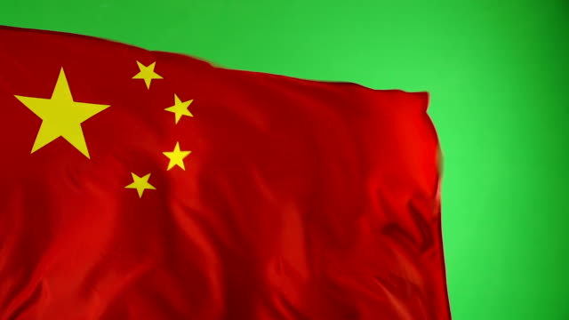 chinese china flag on green screen, super slow motion - chinese flag stock videos and b-roll footage