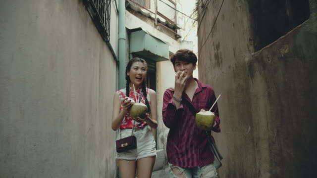 chinese couple in the city - alley stock videos & royalty-free footage