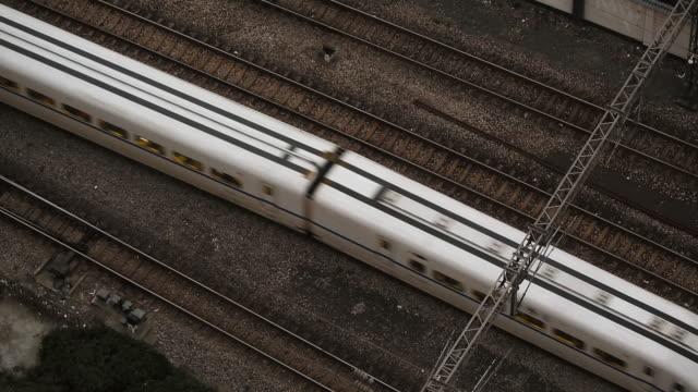 Chinese CRH High-speed train overhead shot