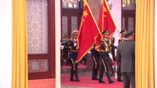 chinese defence personnel practice military honour guard ahead of diplomatic welcome ceremony in north hall of great hall of the people building... - parade stock videos & royalty-free footage
