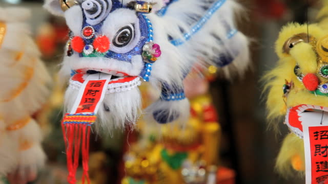 chinese dragons, temple street market, chinatown, singapore, south east asia - temple street market stock videos and b-roll footage